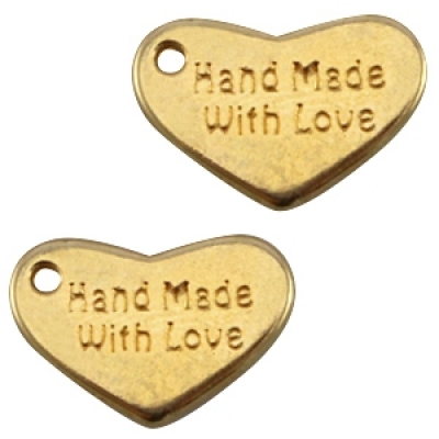 """DQ Bedel """"Hand made with love"""" - 10x15mm - Goud"""