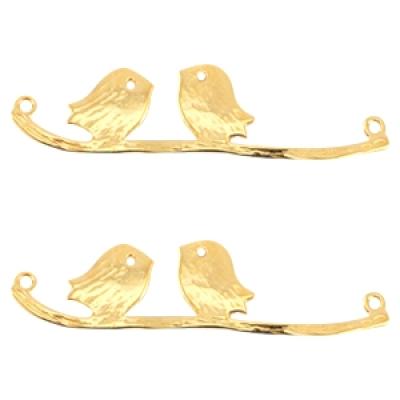 Vogeltjes op een tak - Antiek goud