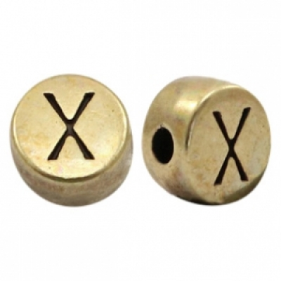 Letter X -Goudmetaal - 7 mm