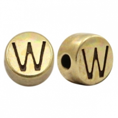 Letter W -Goudmetaal - 7 mm