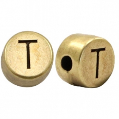 Letter T -Goudmetaal - 7 mm