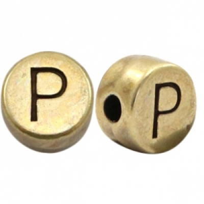 Letter P -Goudmetaal - 7 mm