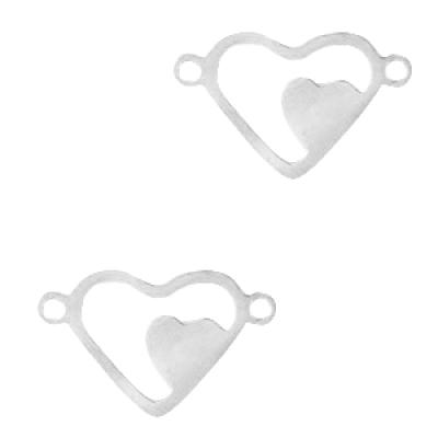 Tussenstuk hartje -zilver - 16 x 10 mm