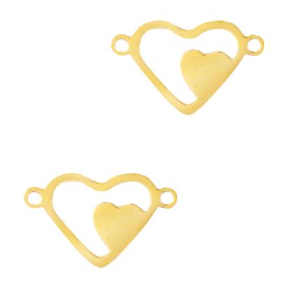 Tussenstuk hartje -goud - 16 x 10 mm