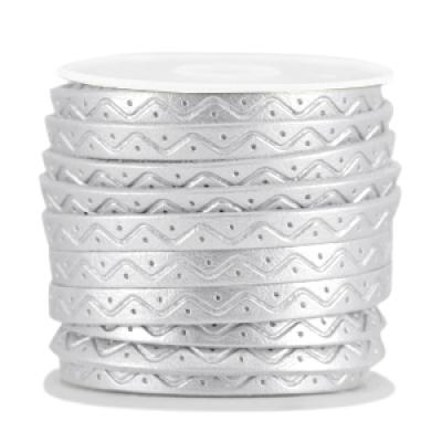 Plat imitatie leer - 5 mm - Zilver