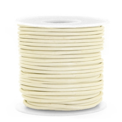 DQ Leer rond 1 mm Orchid white - per meter