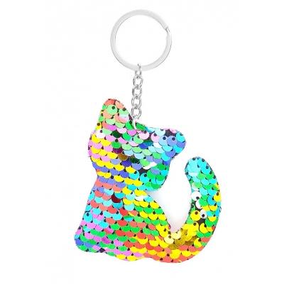 Sleutelhanger met omkeerbare pailletten kat Zilverkleur/Multicolour